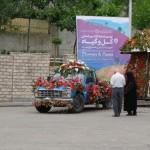 روز اول نمایشگاه یک کاروان گل آرایی شده در شهر تهران گشت زد
